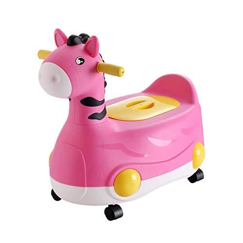 Childrens Potty Toilette pour enfants, bébé, dessinateur de train confortable pour bébé, adapté aux bébés garçons et filles (avec roues) Potty de Voyage (Color : Pink)