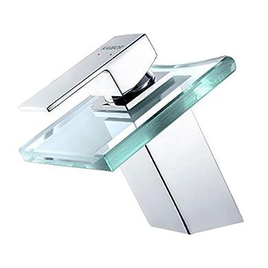 """Foto di KAIBOR Rubinetto Bagno Cascata vetro Design estetico moderno per lavabo, Universale 3/8"""", Rubinetto Miscelatore Cascata da Lavandino Bagno con Valvola in Ceramica"""