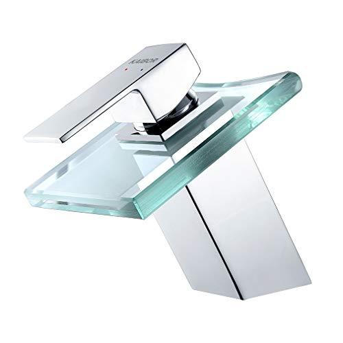 KAIBOR Grifo de Lavabo Cascada vidrio Grifos de bañera Válvula De Cerámica, Agua Fria y Caliente Disponible, Grifo Baño de Latón con Estilo de Moderno de ducha
