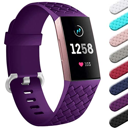 Wepro Compatible con Fitbit Charge 3 Correa/Fitbit Charge 4 Correa - Correa de Repuesto Deportiva de Silicona Suave para Fitbit Charge 3/Charge 4/SE, S Ciruela