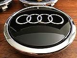 Radzierkappe Original Audi Nabenkappe Tuning Deckel für Alufelgen schwarz glänzend