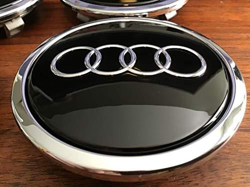 Rueda Ornamentales Tapa Original Audi Buje Tapa Tuning Tapa para llantas de color negro brillante