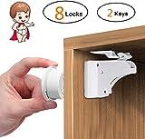 EYOBE Kinder-und Baby-Sicherheitssichere,magnetische Schrankschlösser,8 Schlösser und2 Schlüssel,einfache Installation in Sekunden,neuestes Design zum Schutz Ihrer Kinder ohne Schrauben oder Bohren-02