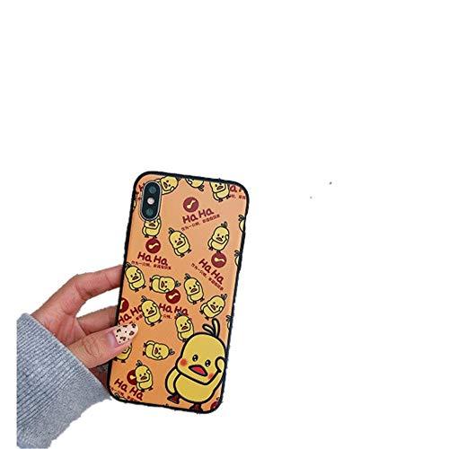 Lindo y pequeño pato amarillo Apple XS Max Funda para teléfono móvil para 7/8 plus Carcasa protectora de concha blanda mate todo incluido de dibujos animados 7 / 8plus como se muestra oppo a3