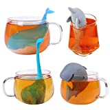 4-Pcs Silicone Tea Infuser, Cute Shark Whale Dinosaur dolphins Reusable Long Handled Loose Leaf Tea Bags Strainer Filter