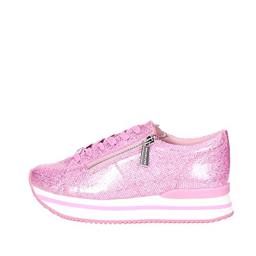 Fornarina Tina Damen Schuhe Low Sneaker Sportlich Turnschuhe Rosa Silber Glitzer, Größe:38