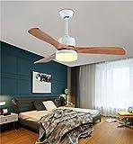 LED Ventilador de techo con lámpara funciona silencioso Aspas de ventilador de madera maciza Adecuado para cocina, salón y dormitorio (Blanco, 52 pulgadas (control remoto))