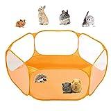 ペットサークル 小動物フェンス 室外/室内 プレイサークル ウサギ ハリネズミのテント 六角形 網目あるのケージ 折りたたみ (オレンジ)