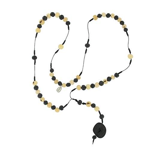 Halskette aus Acai Samen, Rosenkranz ohne Kreuz, original Sambaia, schwarz