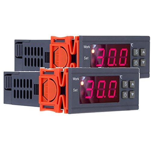 KKmoon 90~250V 10A Regolatore Controllore di Temperatura Termoregolatore Digitale Termocoppia -50~110 Gradi Centigradi con Il Sensore,Pacchetto di 2