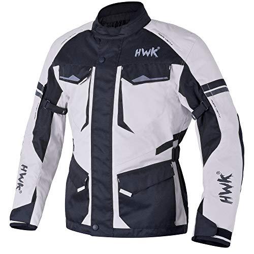 Adventure/Touring Motorcycle Jacket For Men Textile Motorbike CE Armored Waterproof Jackets ADV 4-Season (Light Grey, XL)