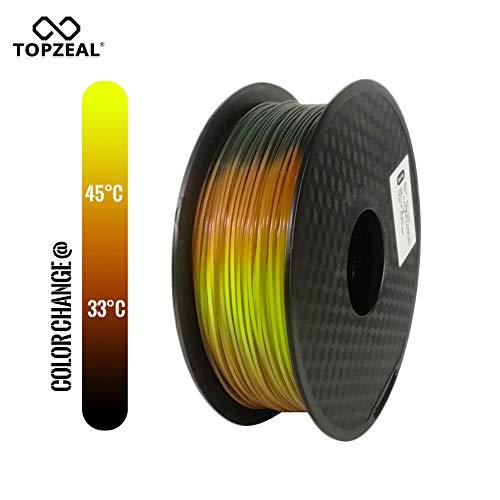 TOPZEAL 3D Drucker Filament PLA 1,75mm Farbe ändern durch Temperatur, Maßgenauigkeit +/- 0,05 mm, 1KG Spule für 3D Drucker und 3D Stift (schwarz zu orange zu gelb)