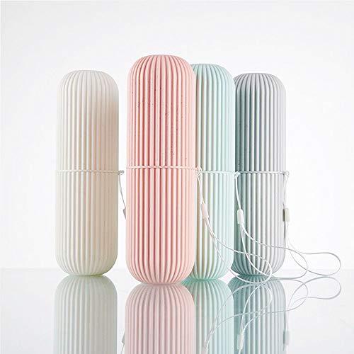 X-BLTU Taza de enjuague bucal de viaje, soporte de pasta de dientes, taza de cepillo de dientes portátil irrompible para viajes, camping, cepillo de dientes de plástico para pareja (2 colores