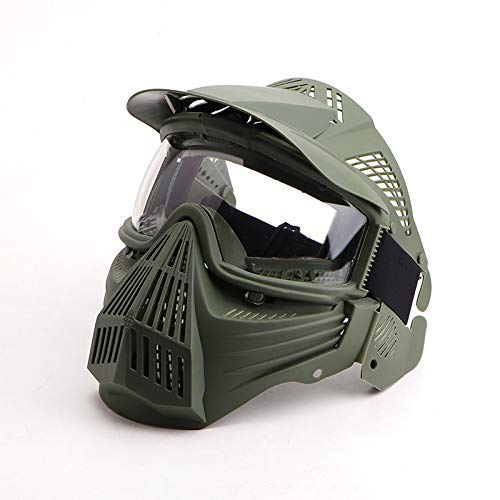 Anyoupin Paintball Mask, Airsoft Mask Full Face with Goggles Impact Resistant for Airsoft BB Hunting CS Game Paintball and Other Outdoor Activities Green-Clear-Lens