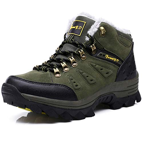 Zpyh Men Leather Lightweight Waterproof Walking Hiking Trekking Comfort Memory Foam Shoes The Best Gift for Christmas is Suitable for Autumn and Winter Seasons (Color : Army Green, Size : 9.0UK)