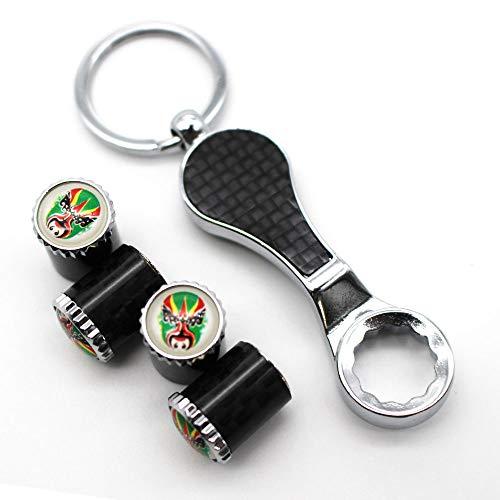 HIGGER 1 Satz diebstahlsichere Ventilkappen Universal Auto Staubkappen Ventilschaftabdeckung + Schraubenschlüssel Schlüsselbund für Auto/Motorrad/Fahrrad