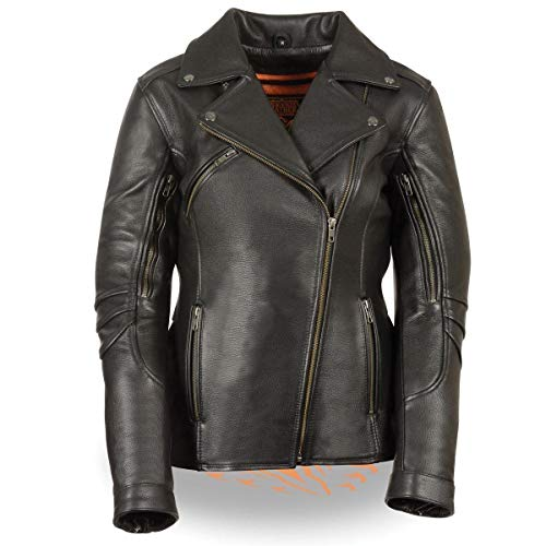 Milwaukee Leather MLL2580 Women's Long Length Belt-Less Vented Black Leather Jacket with Gun Pockets - Medium