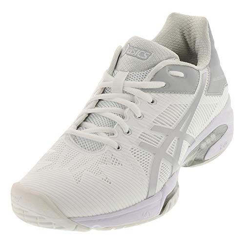 ASICS Women's Gel-Solution Speed 3 Tennis Shoe, White/Silver, 5 M US