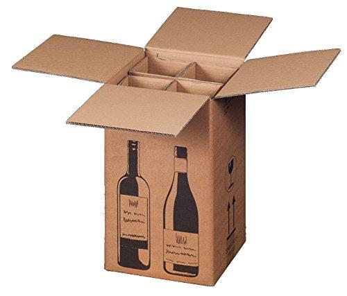 10x Flaschenversandkarton Weinkarton für 4 Weinflaschen (PTZ Zertifikat - DHL/UPS)