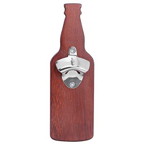 Abrebotellas, tapa electromagnética incorporada de madera maciza Abrebotellas de pared Hombres y mujeres Novedad Amantes de la cerveza Regalos y accesorios de cocina(vino tinto)