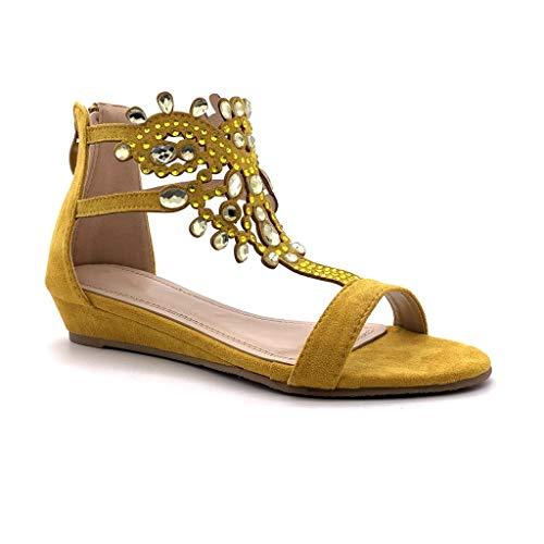 Angkorly - Damen Schuhe Sandalen - Flache - Offen - orientalisch - Diamant - Schmuck/Juwelen - Strass Keilabsatz 3 cm - Gelb P216 T 38