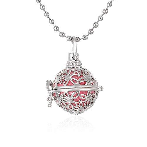 Collar De Difusor De Aceite Esencial Aromatherapy Jewelry Locket Collar Perfume Aceite Esencial Difusor Caja Bola De Fieltro Difusor Collar Colgante Pendiente-Mi