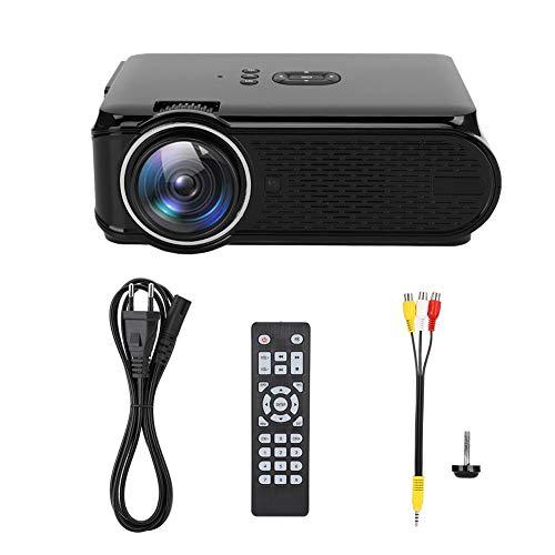 Cikonielf Mini Proyector de Video 1080P, 1600 Lúmenes, Proyector de Cine en casa con Control Remoto, Sistema Android 6.0, Soporte WiFi, Bluetooth, AC110V-240V