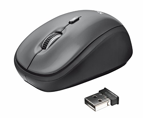 Trust Yvi Mouse Wireless, Mause Senza Filo, 800/1600 DPI, 8m di Portata Wireless, Microricevitore USB Riponibile, PC/Laptop/Mac/Chromebook - Grigio