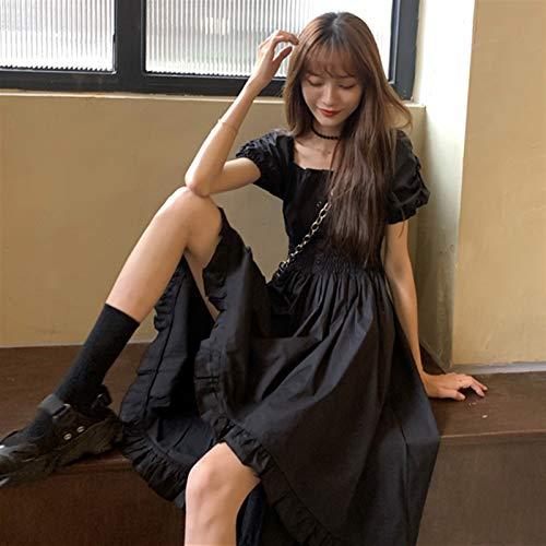 Liandan Lolita Vestido Streetwear Shirt Japanese Dark Style Design Dulce V-Cuello Vestido Mediados Longitud Cintura Abrazo Cuello Cuadrado Vestido Gótico Renacimiento Fairy Kei Traje de Cosplay