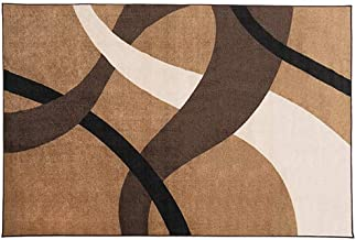 House, Home and More Skid-Resistant Carpet Indoor Area Rug Floor Mat – Modern Contemporary Waves – Medium Brown Fusion – 6 Feet X 9 Feet