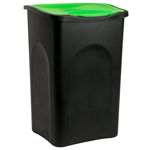 Stefanplast® Mülleimer 50L Klappdeckel schwarz/grün - Abfalleimer Abfallbehälter Müllbehälter Papierkorb Abfallsammler made in Italy