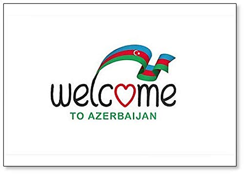 Kühlschrankmagnet, Motiv: Welcome to Aserbaidschan mit Flagge, klassisch