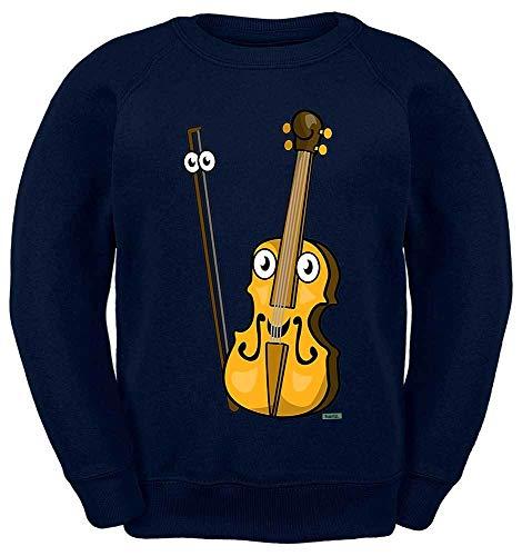 HARIZ Kinder Sweater Geige Lachend Instrument Kind Lustig Plus Geschenkkarte Navy Blau 152/12-13 Jahre