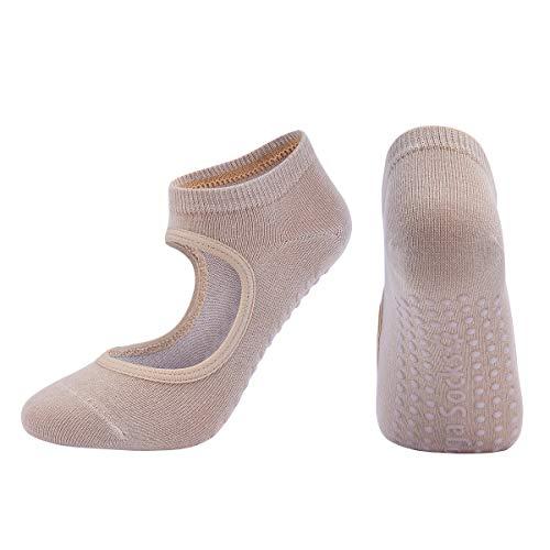 FDSVCSXV Calcetines de Yoga para Las Mujeres Calcetines, Antideslizantes para Pilates, Ballet, Danza, Calcetines de Entrenamiento Descalzos, 3 Pares,Beige,One Size