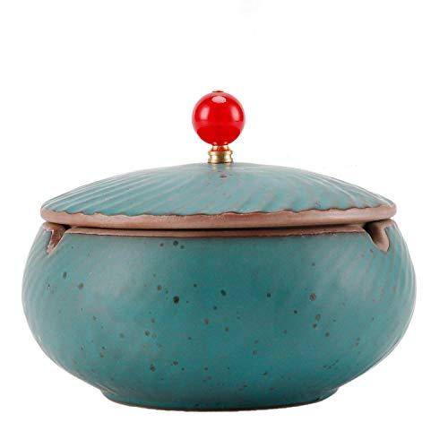 Imagen del producto ONEDERZ Cenicero a prueba de viento del De cerámica con Tapa antiolor, para Mesa de café, pequeño decoración, apartamento, Dormitorio, balcón, Azul, 11x 8.5cm
