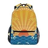 Rucksack Rucksack Perfekt für Schulreisen Japanisches Muster Sunrise Sea Wave Daycare für Teen Boys Girls