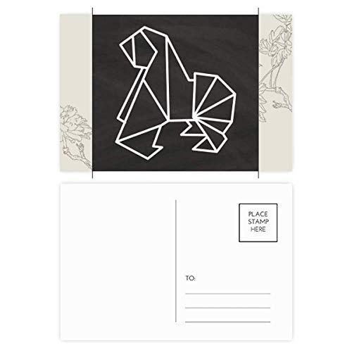 Abstracto Origami Perro Forma Geométrica Flor Postal Set Gracias Tarjeta Correo Lado 20pcs