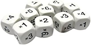 Custom & Unique {Standard Medium 16mm} 10 Ct Pack Set of 6 Sided [D6] Square Cube Shape Playing & Educational Game Dice w/ Rounded Corner Edges w/ Classroom Multiplication Design [White & Black]