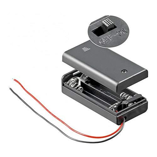 Batteriehalter | 2X AA Mignon | mit EIN Aus Schalter | lose Kabelenden | geschlossenes Gehäuse | wasserabweisend | schaltbar | Batteriefach Akkuhalter Aufbewahrungsbox | 1 Stück