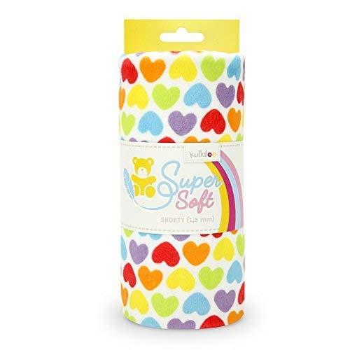 kullaloo Supersoft Shorty Prints SB-Pack Plüschstoff, Minky, Weiß Mit Bunten Herzen, 100 x 75 cm