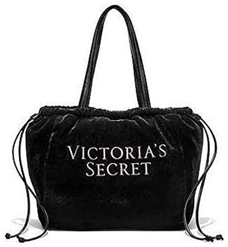 Victoria's Secret Luxe Velvet Tote Black