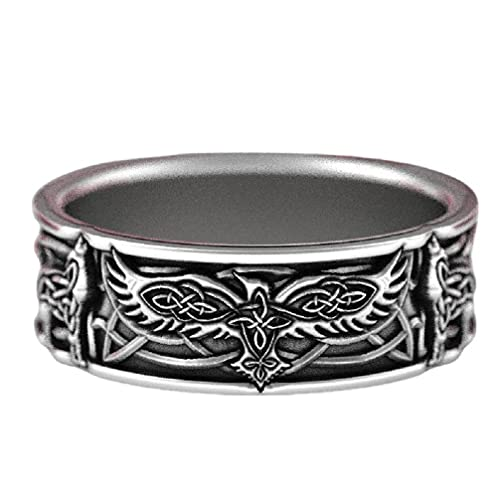 Wolf Ring for Men, Celtic Eagle Ring Nordic Viking Wolf Head Ring Hip Hop Biker Ring Men's Punk Wolf Cross Ring Jewelry Gift Father's Day Accessories (7)
