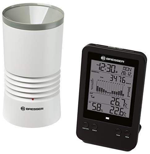 Bresser Wetterstation Funk mit Außensensor Profi Regenmesser Station mit DCF Funkuhr, Wecker mit Hintergrundlicht und Datenspeicherung von Tiefst- und Höchstwerten
