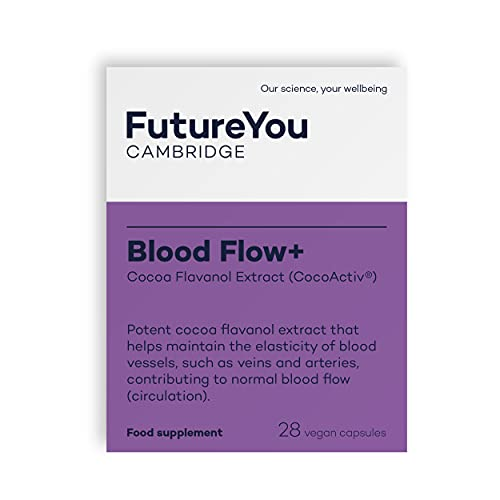 Blood Flow+ CocoActiv, High Strength Cocoa Flavanol 'Chocolate Pill' - Vegan Suitable Supplement - Maintains Blood Vessel Elasticity - 28 Day Supply - Developed by FutureYou Cambridge, UK