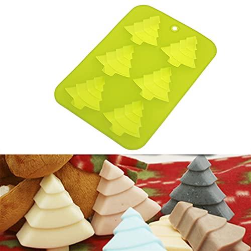 HTGUDE Stampo per sapone, durevole 3D a forma di albero di Natale in silicone, per lavori fai da te, budino, gelatina, accessori da cucina, facile da pulire