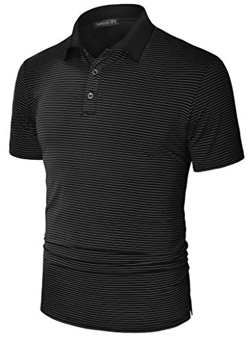 TAPULCO Dry Fit Golf Shirts for Men Classic Athletic Stripe Design Polo Shirt Ultra-Soft Jersey Cooling Elastic Polyester T-Shirt Summer Comfort Tee Black Medium