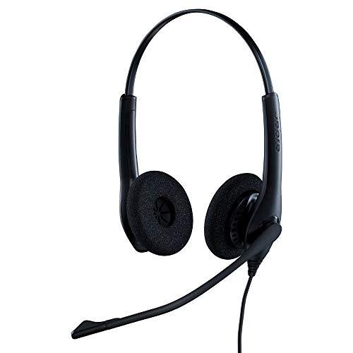 Jabra Biz 1500 QD On-Ear Stereo Headset mit Schnelltrennkupplung - Kabel-Kopfhörer mit geräuschunterdrückendem Mikrofon und Lautstärkespitzenschutz für Tischtelefone