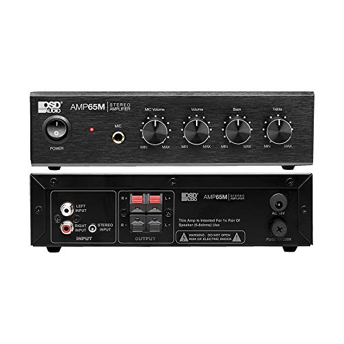 """OSD Audio AMP65 50W RMS (25Wx2) Aluminum Face Compact Stereo Amplifier w/ 1/4"""" Mic Input (Renewed)"""