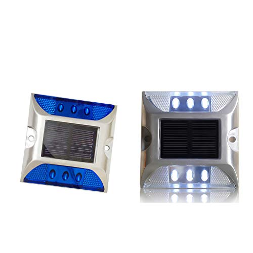 B Blesiya 2pcs Ultra Bright Outdoor Solar Power LED Light Driveway Step Road Lampada Bianca + Blu
