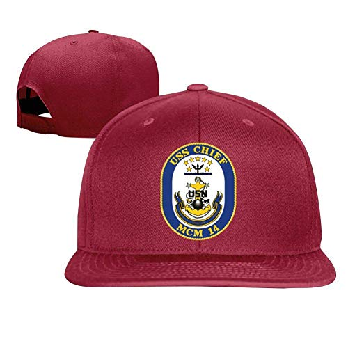 SuyuttiER USS Chief MCM-14 Baseball Cap Adjustable Trucker Hat Dad Hat Red